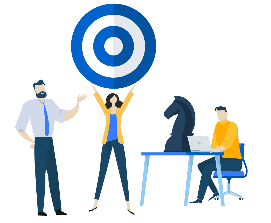 Icon of a team at work with a target