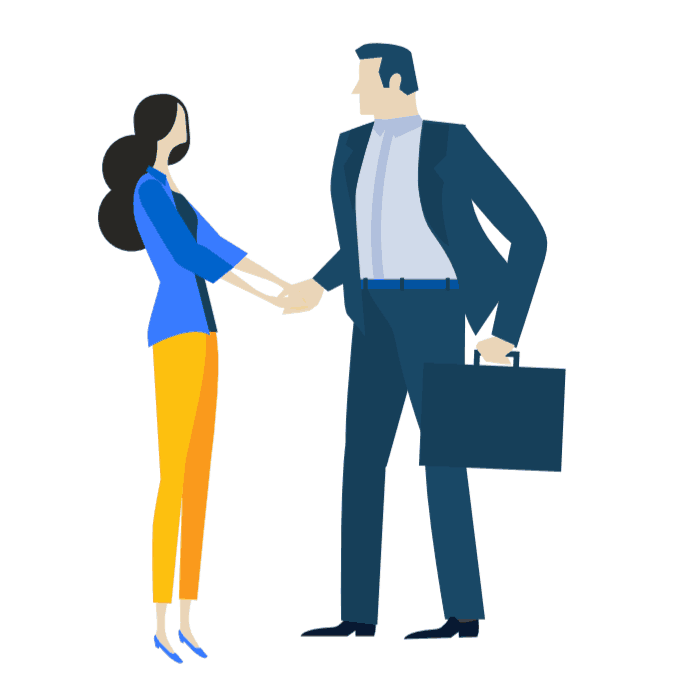 Icon of a man and woman shaking hands